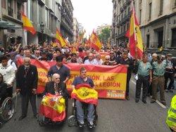 Prop de 1.000 persones es manifesten en suport als Legionaris i la unitat d'Espanya (EUROPA PRESS)