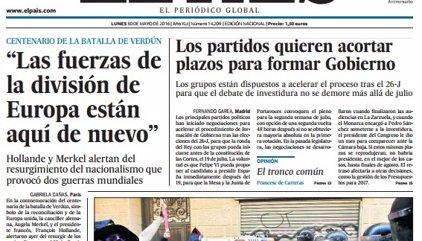 Las portadas de los periódicos de hoy, lunes 30 de mayo de 2016