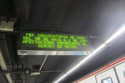 El Metro registra un 30% menys d'usuaris entre les 16.00 i les 18.00 per la vaga (EUROPA PRESS)