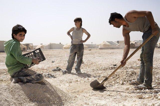 Niños refugiados trabajan en Jordania, trabajo infantil