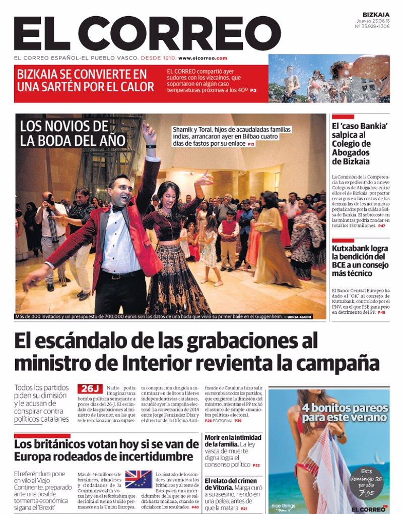 Las portadas de los peri dicos de hoy jueves 23 de junio for Como se llama el ministro del interior