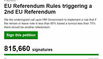 Más de un millón de personas firman para pedir la repetición del referéndum en Reino Unido