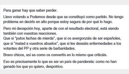 La carta viral de una votante de Podemos contra los ataques y menosprecios a los votantes del PP