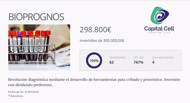 Foto: COMUNICADO: Bioprognos alcanza el 100% de la ronda de inversión con Capitall Cell (BIOPROGNOS- CAPITAL CELL)