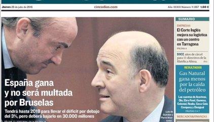 Las portadas de los periódicos económicos de hoy, jueves 28 de julio