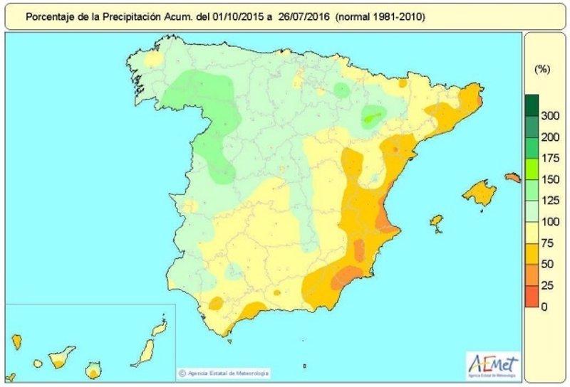 La ausencia de lluvias termina con el superávit del balance hídrico y lo sitúa en niveles normales de precipitación