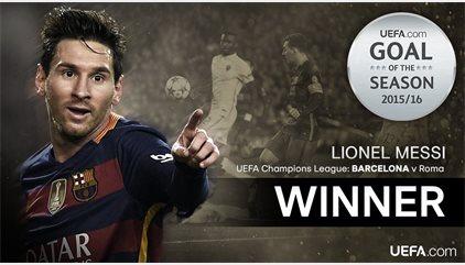 Messi torna a guanyar el premi de la UEFA al millor gol en la temporada 2015-16