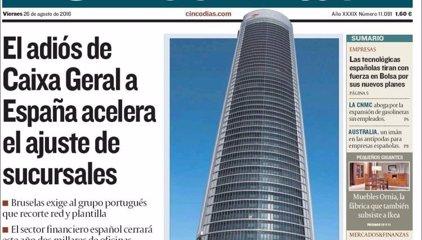 Las portadas de los periódicos económicos de hoy, viernes 26 de agosto
