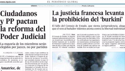 Las portadas de los periódicos de hoy, sábado 27 de agosto de 2016