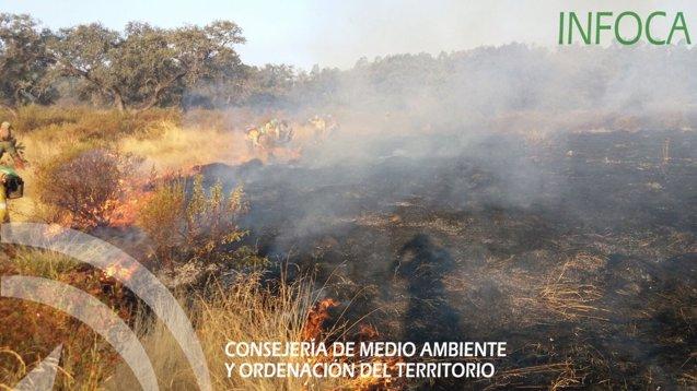 """Foto: El incendio de El Castillo de las guardas ha afectado a """"más de 100 hectáreas"""" en Zufre (EUROPA PRESS/INFOCA)"""