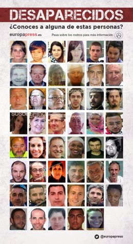 Infografía de algunos de los últimos desaparecidos en España