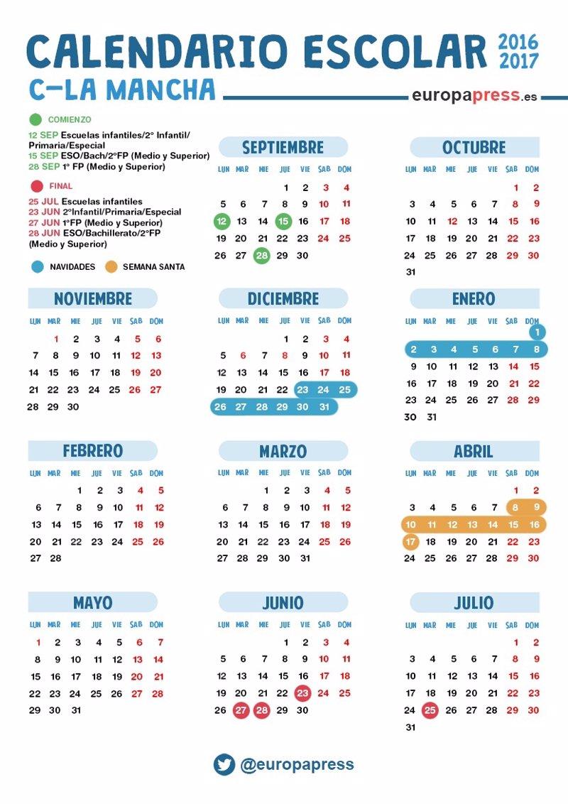 Calendario escolar 2016/2017 en Castilla-La Mancha: Navidad, Semana ...