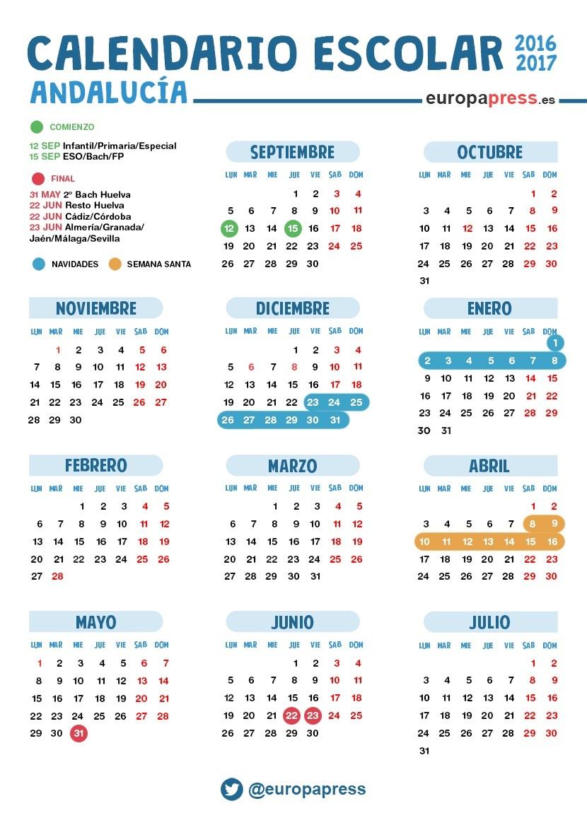 Calendario escolar 2016 2017 en andaluc a navidad semana - Casa del libro valencia horario ...