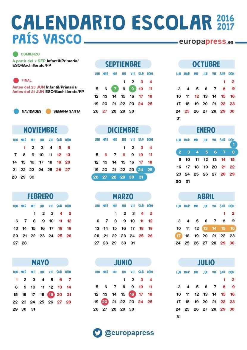 Calendario escolar 2016/2017 en Euskadi: Navidad, Semana Santa y ...