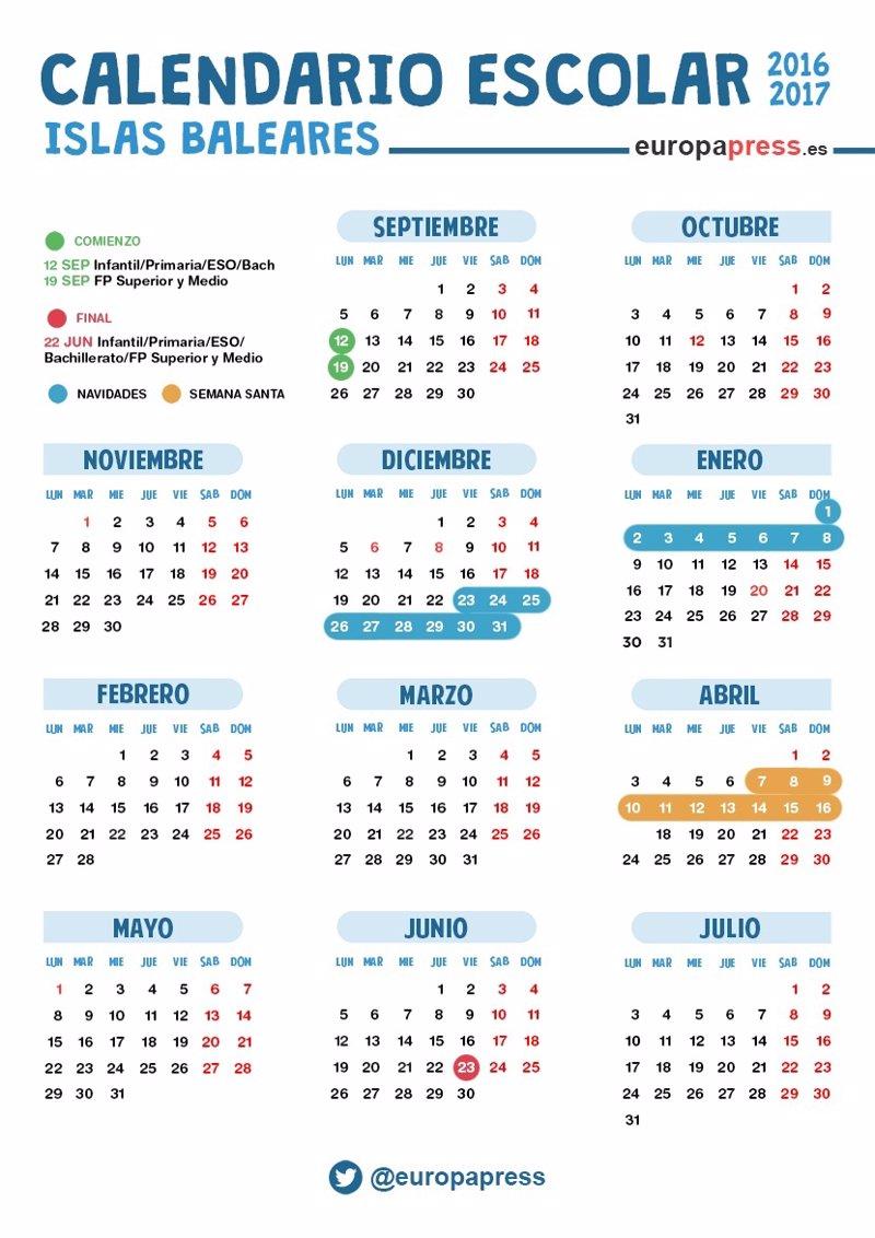 Calendario escolar 2016/2017 en Baleares: Navidad, Semana Santa y ...