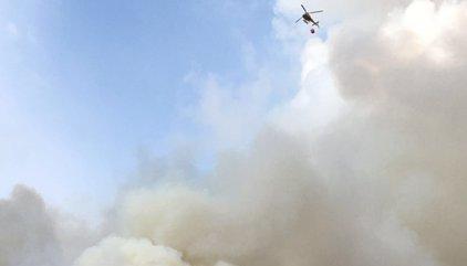 Desallotgen un club de tenis pel foc a la serra de Collserola a Esplugues