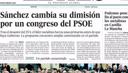 Las portadas de los periódicos de hoy, martes 27 de septiembre de 2016