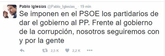 Tweet de Pablo Iglesias