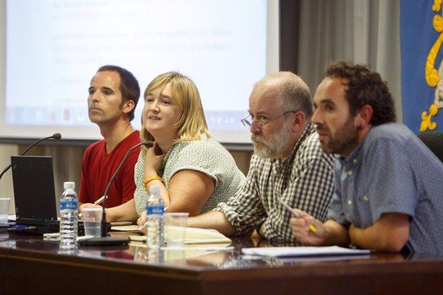Danel Solabarrieta, Atziber Lasa, Joaquín Sevilla y Joseba Aldasoro, en la UPNA