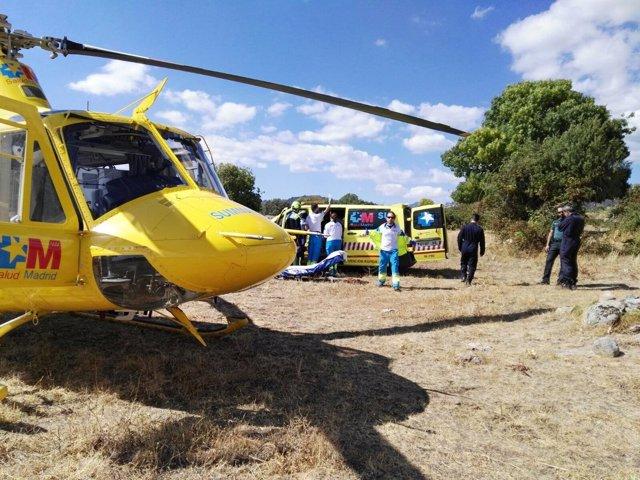 Intervención del helicóptero del Summa