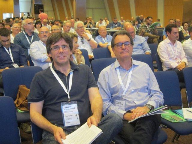 C.Puigdemont y A.Mas en el congreso de la nueva CDC