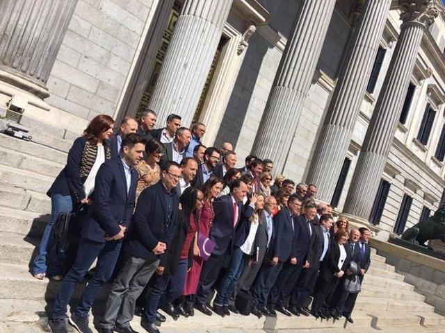 Delegación valenciana en el anterior debate de reforma del Estatuto