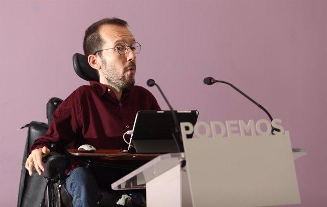 Pablo Echenique en rueda de prensa en tras el Consejo de Coordinación de Podemos