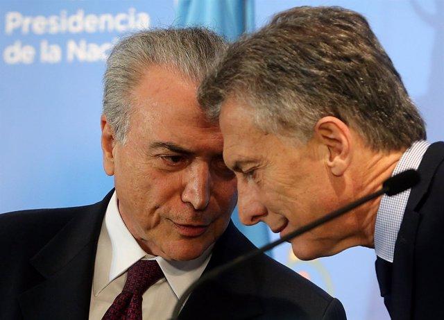 Los presidentes de Brasil, Michel Temer, y Argentina, Mauricio Macri