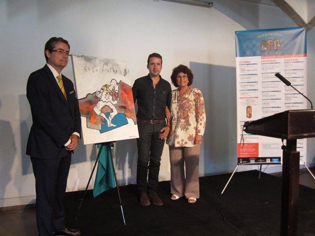 Pacheco, Peña y Pineda presentan el cuadro cedido por el pintor