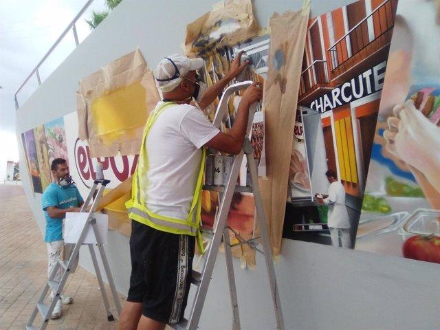 Grafiteros profesionales pintan el eslogan de ElPozo Alimentación
