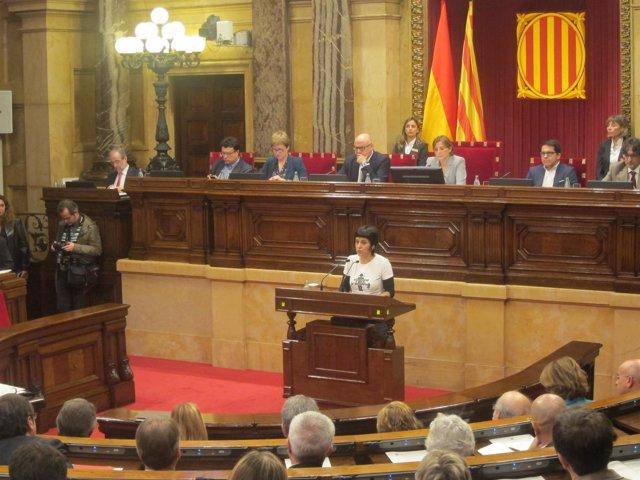 Anna Gabriel (CUP) en el pleno del Parlament