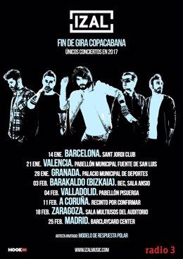 IZAL Visitará Valencia En Su Fin De Gira COPACABANA 21 Enero 2017 Pabellón Fuent
