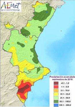 Mapa de lluvias registradas en la Comunitat en septiembre