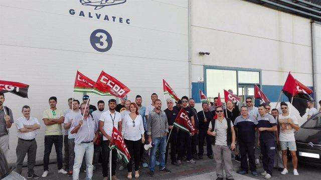 Protesta de la plantilla de Galvatec.