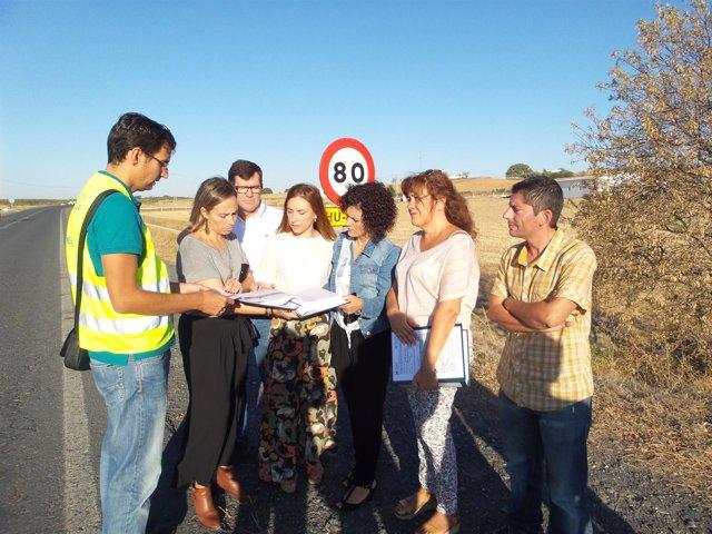 Visita a las obras de la carretera de Villanueva de los Castillejos