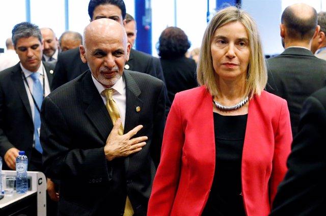 El presidente afgano, Ashraf Ghani, y la Alta Representante Federica Mogherini