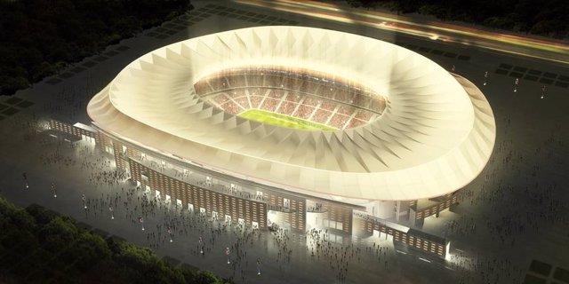Maqueta del nuevo estadio del Atlético, en la exposición de Cruz y Ortiz