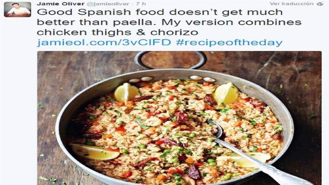 El tuit con la versión de la paella de Jamie Oliver