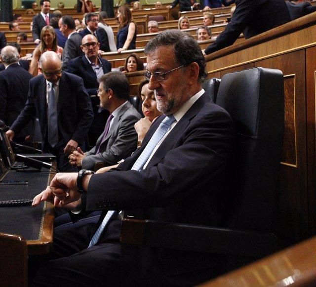 Mariano Rajoy, en su escaño del hemiciclo