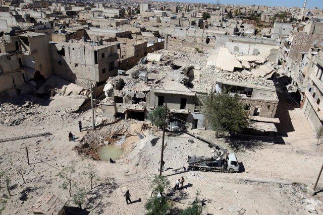 Vista general del barrio de Tariq al Bab, en Alepo