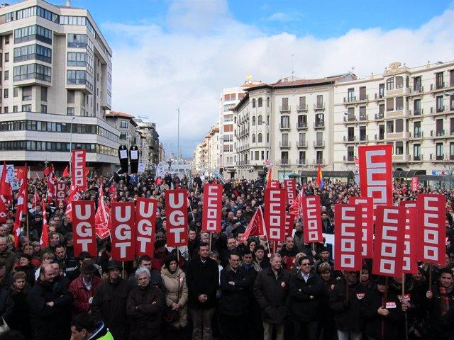 Manifestación De UGT Y CCOO Contra La Reforma Laboral En Pamplona.
