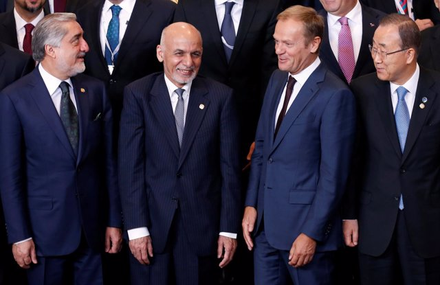 Ashraf Ghani, Abdulá Abdulá, Donald Tusk y Ban Ki Moon