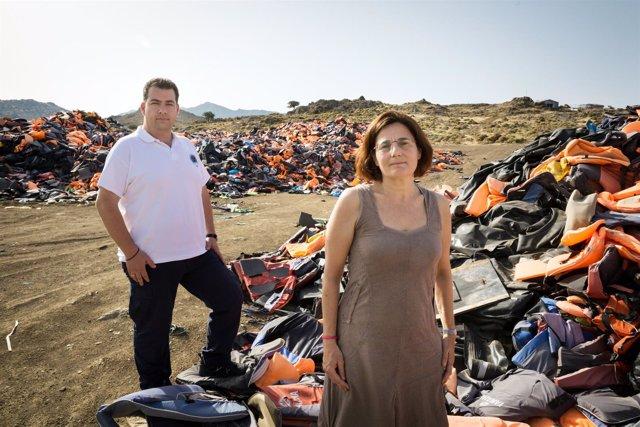 Efi Latsoudi y Konstantinos Mitragas, ganadores del premio Nansen