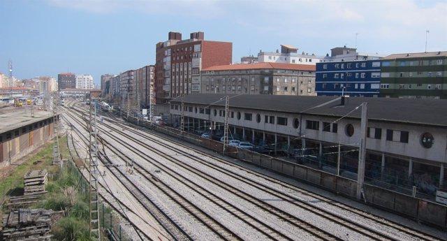 Vías del tren en Santander