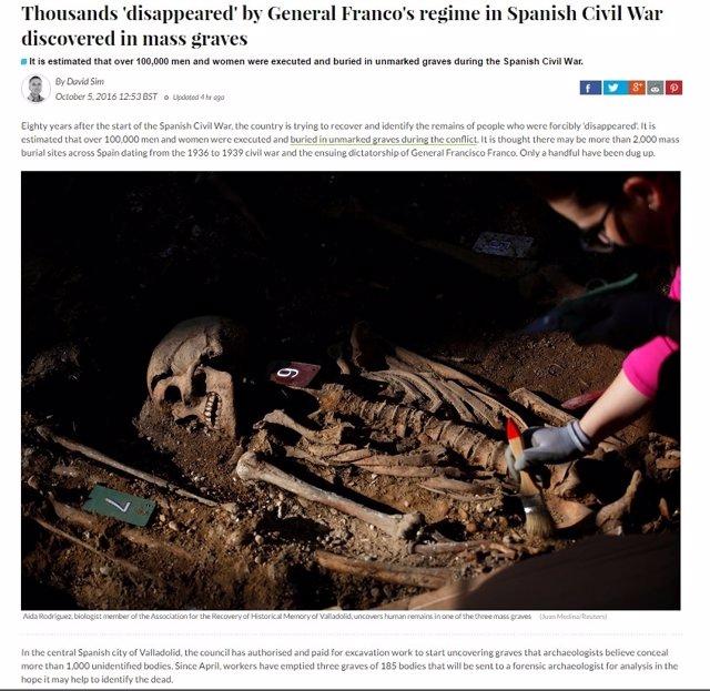 Artículo sobre las excavaciones de fosas en el cementerio de Valladolid