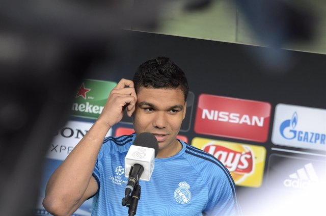 Casemiro en la zona mixta del Open Media Day del Real Madrid