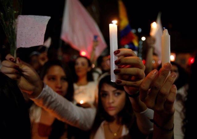 Mnaifestación en Colombia a favor del acuerdo de paz