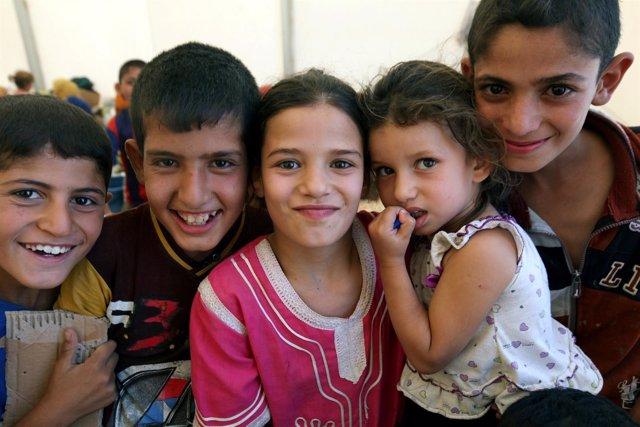 Niños desplazados en Irak