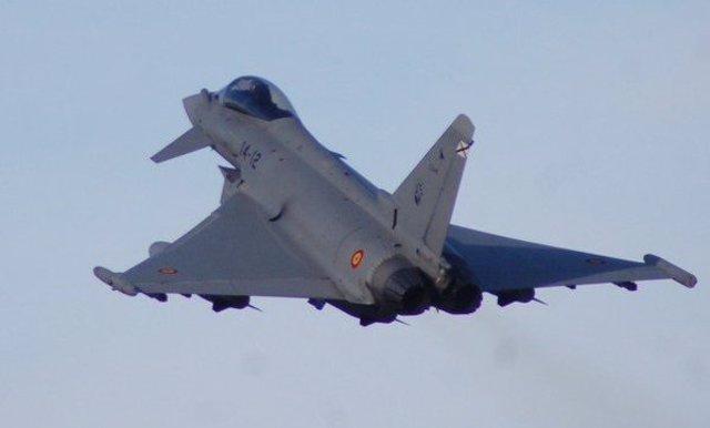 Un 'caza' Eurofighter, en la misión de la Policía Aérea del Báltico