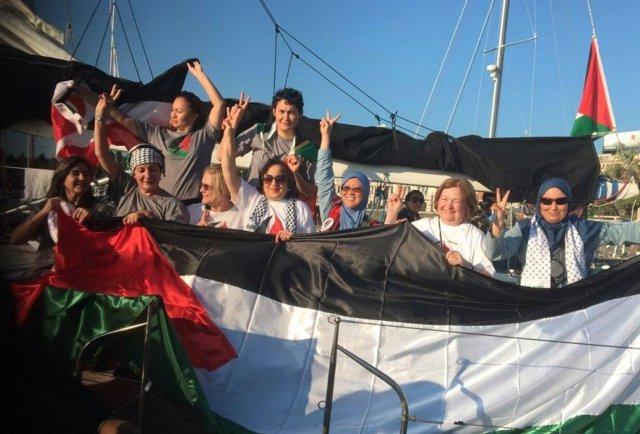Mujeres participantes en la Flotilla hacia Gaza